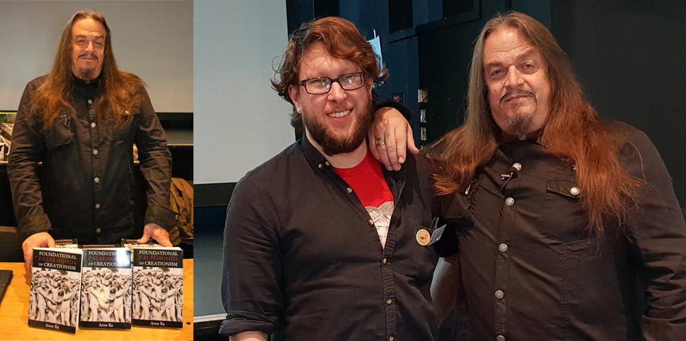 Aron Ra at TetZooCon 2018: at left, with his 2016 book; at right, with Naish. Images: Georgia Witton-Maclean, Darren Naish.