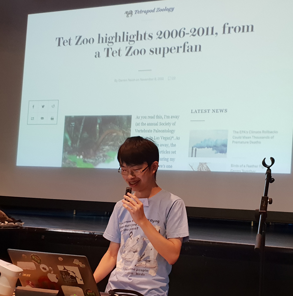 TetZooCon 2018 was the Albert Chen TetZooCon, and he is quite literally wearing the t-shirt. Image: Darren Naish.