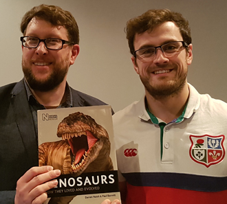 In which I gratuitously use Matt Baron (on the right) in the promotion of (the first edition of)   Naish & Barrett's  Dinosaurs:       How They Lived and Evolved   . Have I ever mentioned my idea on how male Caucasian humans all look exactly alike when they grow facial hair? Image: Darren Naish.