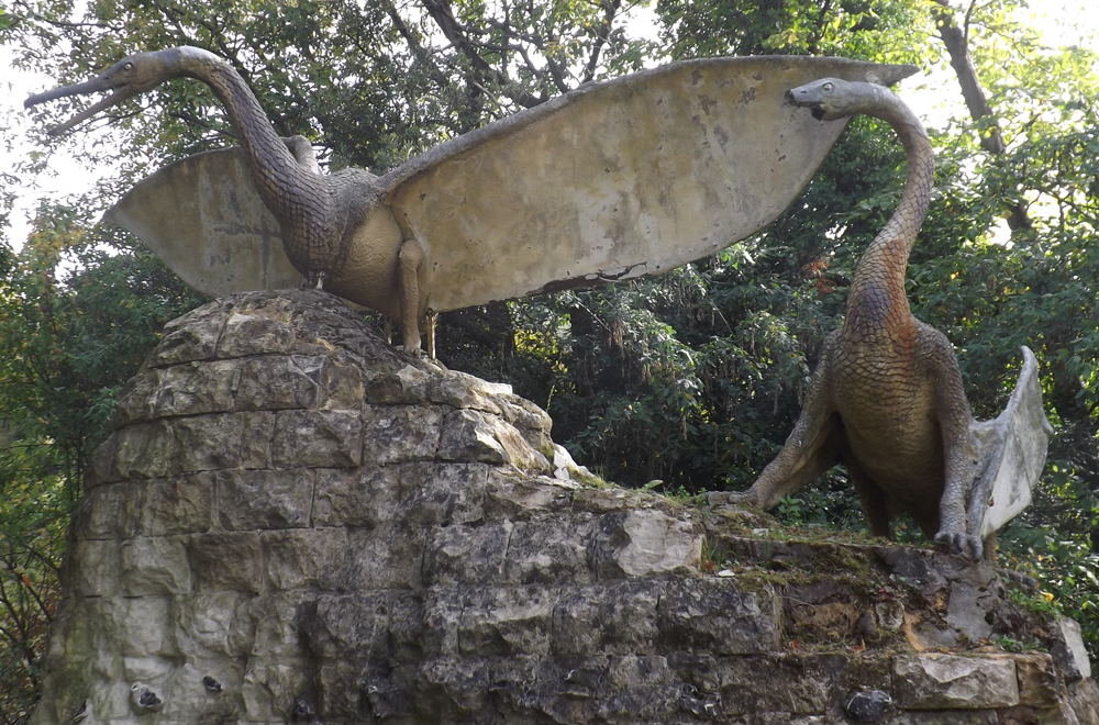 The two large Crystal Palace pterosaurs represent the species known to Owen and Hawkins as  Pterodactylus cuvieri  (though the possibility that more than one species is represented is raised by Owen's remarks in the accompanying guide). Unfortunately, one of the models is now badly broken. The two smaller pterosaur models are not currently on display and have had a really unfortunate history: they've been vandalised, broken and stolen several times. Image: Darren Naish.