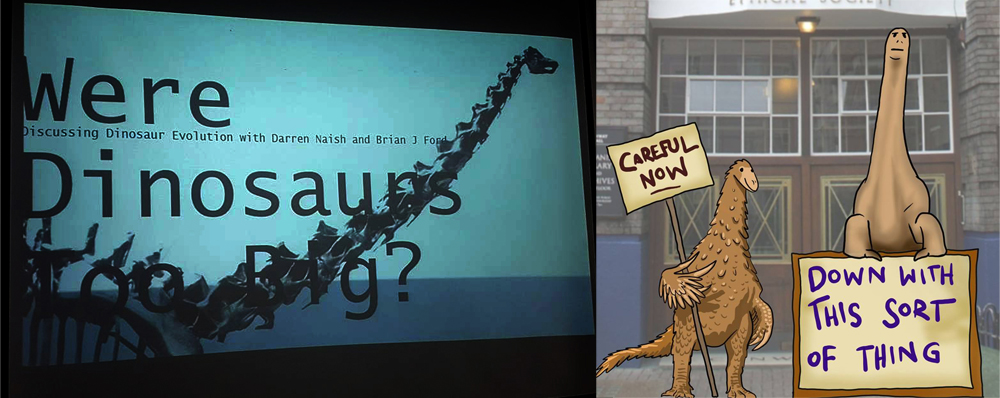 At left: the cover slide for the event. At right: protesters outside Conway Hall, as imagined by Gareth Monger. Well done if you recognise the reference. Images: Darren Naish, (c) Gareth Monger.