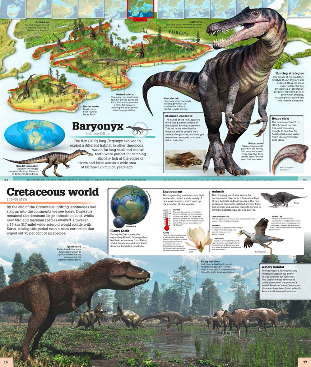 Screengrabs from the in-press   Where on Earth? Dinosaurs and Other Prehistoric Life  , by Chris Barker and Darren Naish. Images: Barker & Naish/Dorling Kindersley.