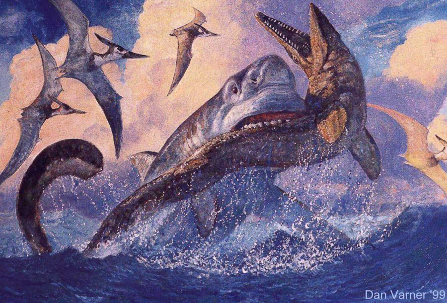 One of Dan Varner's greatest illustrations (in my opinion): the shark  Cretoxyrhina  takes out a  Tylosaurus . This and many other Varner pieces feature in  Oceans of Kansas . Image: (c)   Dan Varner/Oceans of Kansas  .