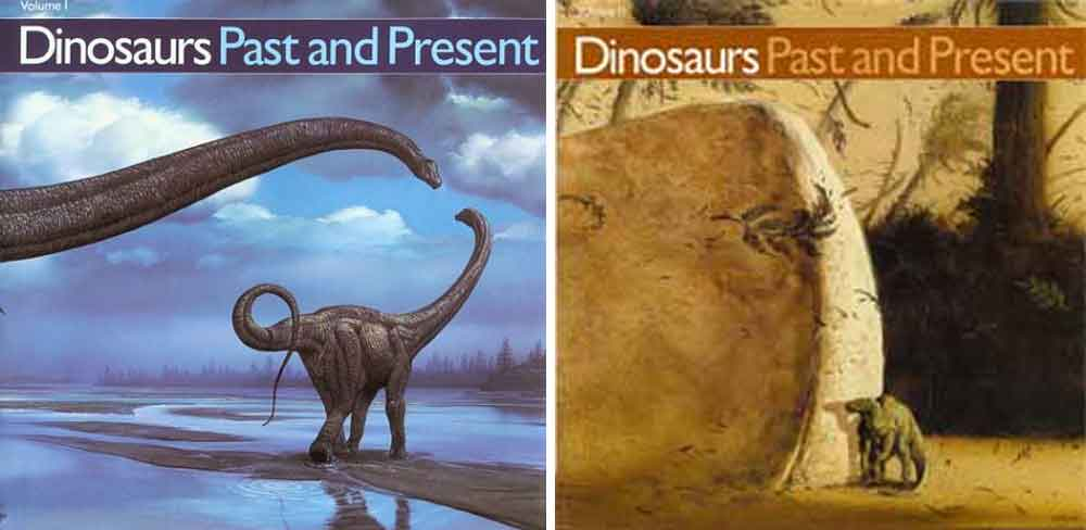 The covers of volumes I and II of  Dinosaurs Past and Present . Both were initially published (in 1987) in hardback, and later (1989) released as softback. My copies are softbacks. Images: Natural History Museum of Los Angeles County/University of Washington Press.