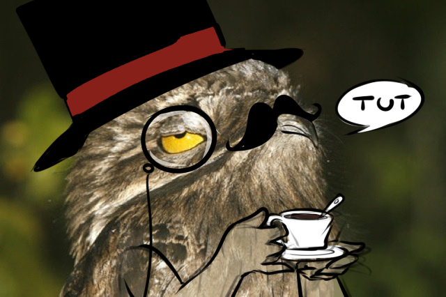 Potoos are just ripe for things like this, it seems. This image, titled 'Potoo is a sir', appeared on imgur in 2014 and is   borrowed from here  . Image: (c)  Polarbearsarentreal .