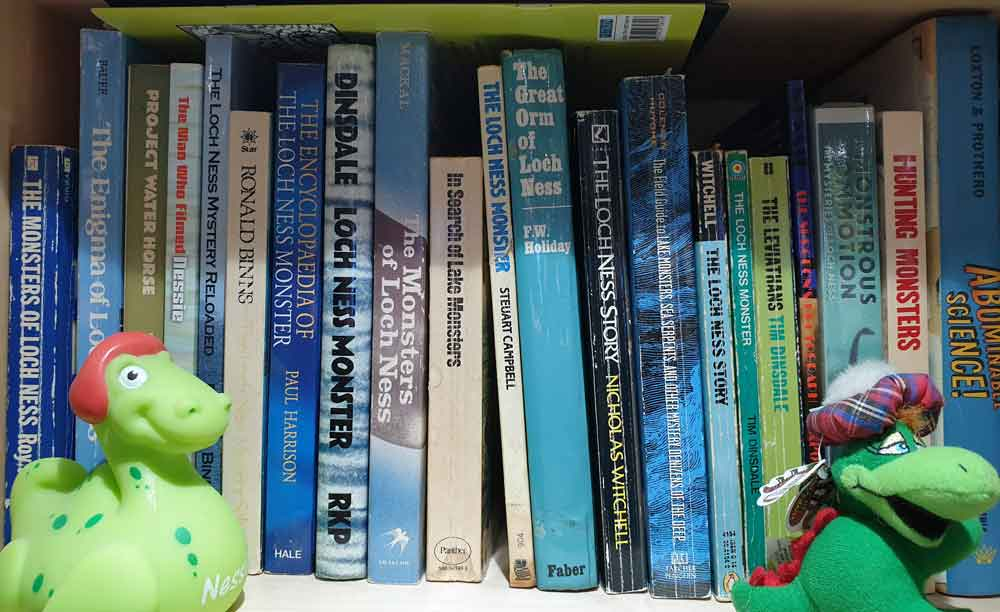 But a fraction of the books that exist on the Loch Ness Monster. Image: Darren Naish.
