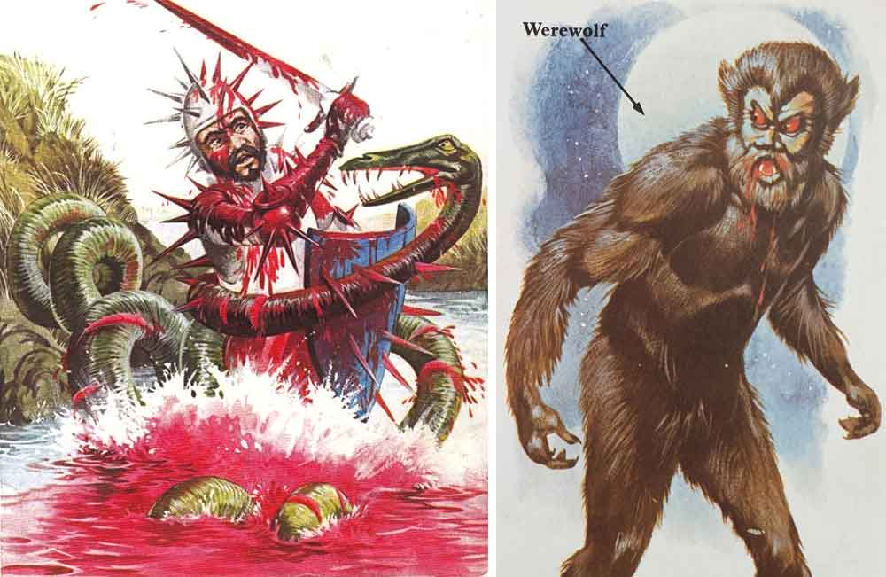 At left: a rendition of John Lambton's battling of the Lambton worm, an oft-recounted piece of English folklore. Right: a wolfman of the Lon Chaney sort. Image: Usborne/Miller 1977.