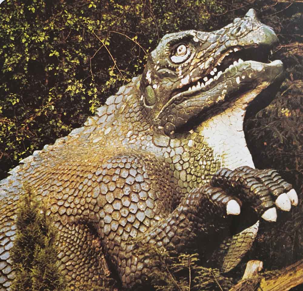 The Crystal Palace reclining  Iguanodon , as it looked during the late 70s. Contrast this with the images shown   in the TetZoo article here  . Image: Usborne/Miller 1977.