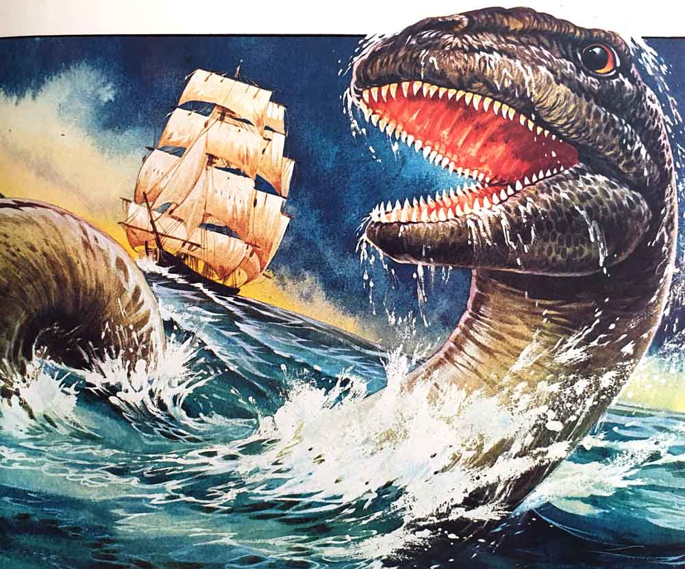 The Monongahela monster, illustrated as if we actually knew what it looked like: a thick-bodied, serpentine creature that swam with a spiralling action and had homodont, conical teeth. The art throughout the book is fantastic. Image: John Francis/Usborne/Miller 1977.
