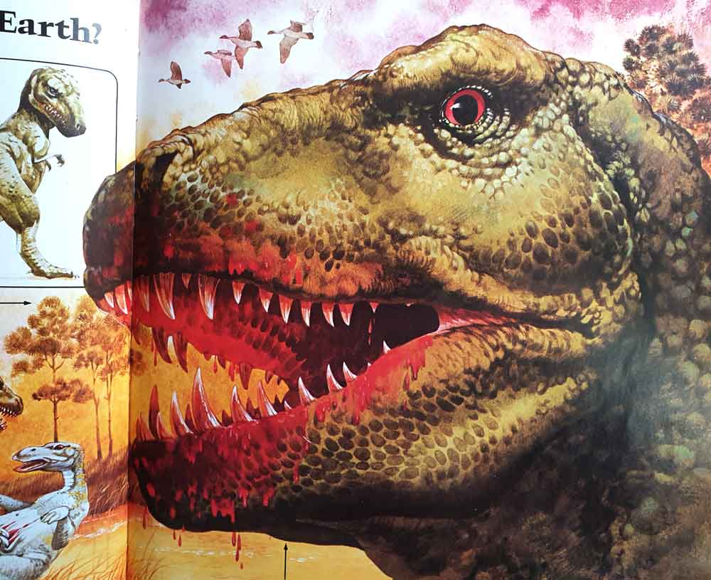 Tyrannosaurus  as a monster, dripping with blood… which, to be fair, must have happened at times. And yay ducks. Image: John Francis/Usborne/Miller 1977.