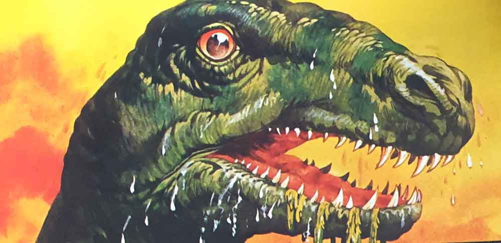 Water monster from the opening pages of the book. The weed snagged on the teeth is a nice touch (and reminds me of the creatures from the 1975 movie  The Land That Time Forgot ). Image: John Francis/Usborne/Miller 1977.