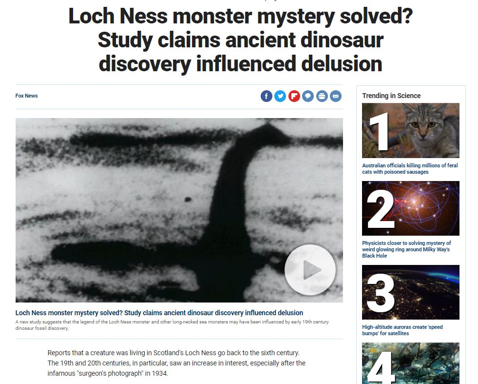 "Fox News coverage of our research. ""Loch Ness""? ""Dinosaurs""? ""Delusion""? Sigh."