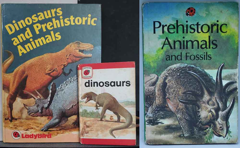 At left, the two Ladybird books discussed below. My copy of the 1974  Dinosaurs  has a bright pink scribble across its cover. At right, a bonus Burianesque styracosaur depicted on the cover of another Ladybird book. Images: Darren Naish,  Arran Alexander Collection .