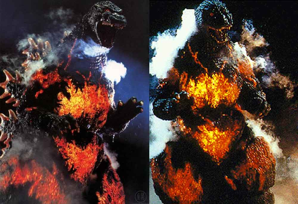 In the 1995 movie  Godzilla vs Destoroyah , Godzilla burns up from the inside and endures a painful phase of looking spectacularly patchworked with glowing red. Images: (c) Toho.