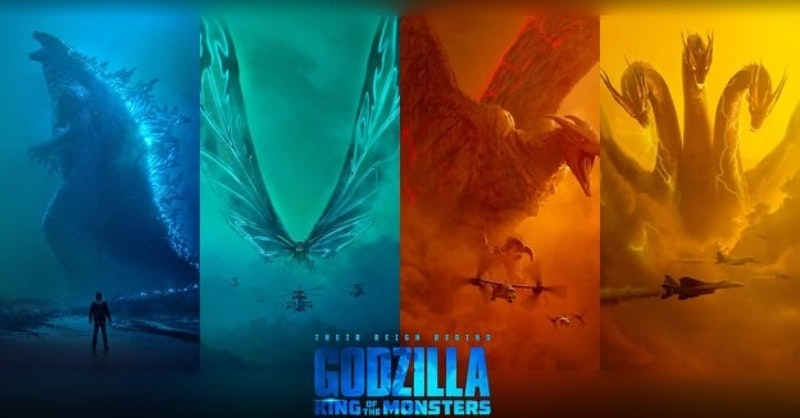 Montage of the main monsters - re-branded as titans for this movie - starring in  Godzilla: King of the Monsters . Image: (c) Film Music Central ( original here ).