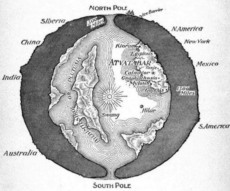 Here's the 'Hollow Earth' image that appears most frequently online (this being because it was uploaded to wikipedia). It's from William Bradshaw's 1892 novel  The Goddess of Atvatabar . Image: public domain, original  here .