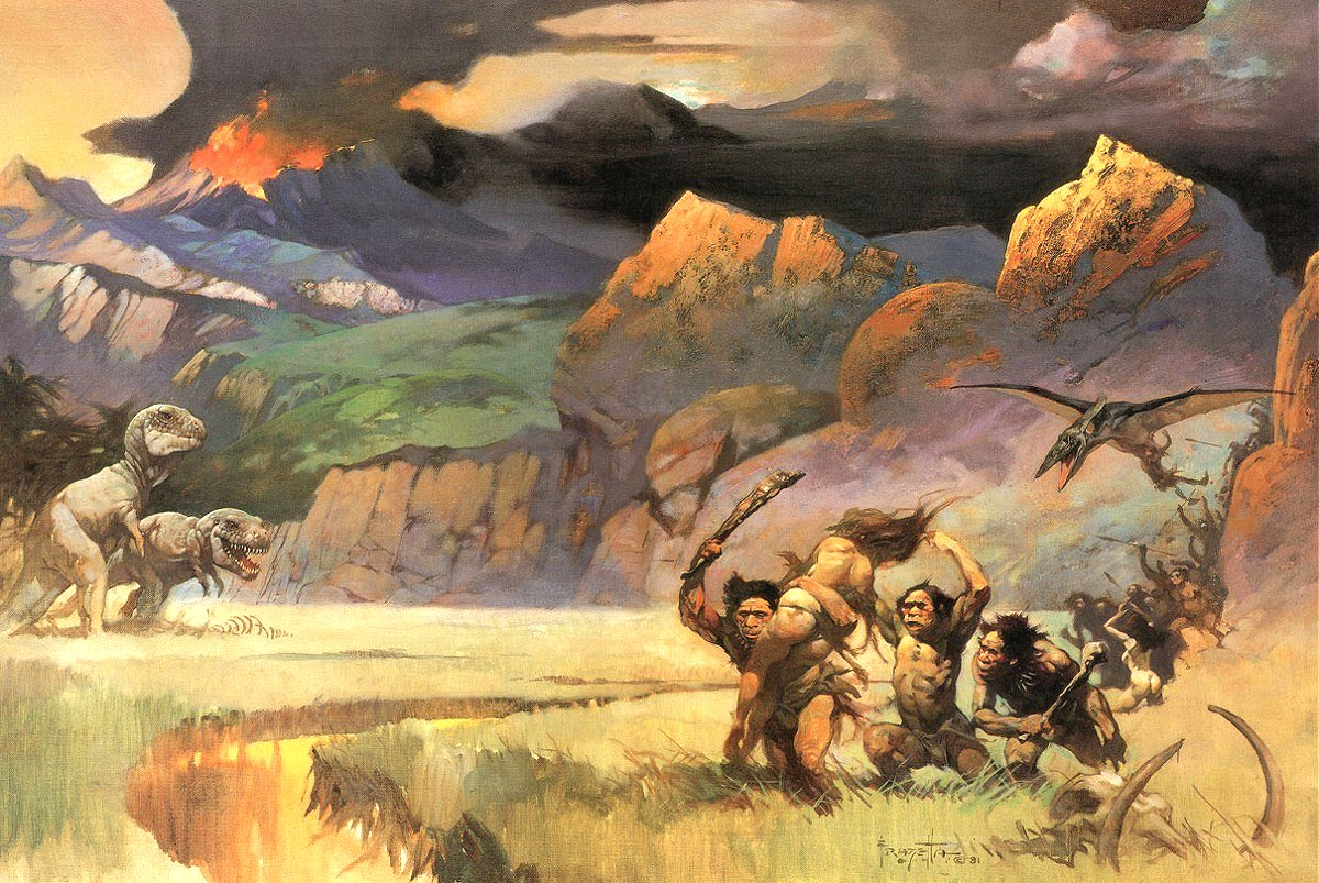 The Hollow Earth of Edgar Rice Burroughs is supposed to have looked something like this… [UPDATE: nope, this is nothing to do with the Hollow Earth - it was instead done for the cover of a 1967 magazine issue that celebrated the movie  One Million Years BC . Thanks to Alan Friswell for this correction]. This is one of Frank Frazetta's inimitable illustrations. Image: (c) Frank Frazetta,   original here  .