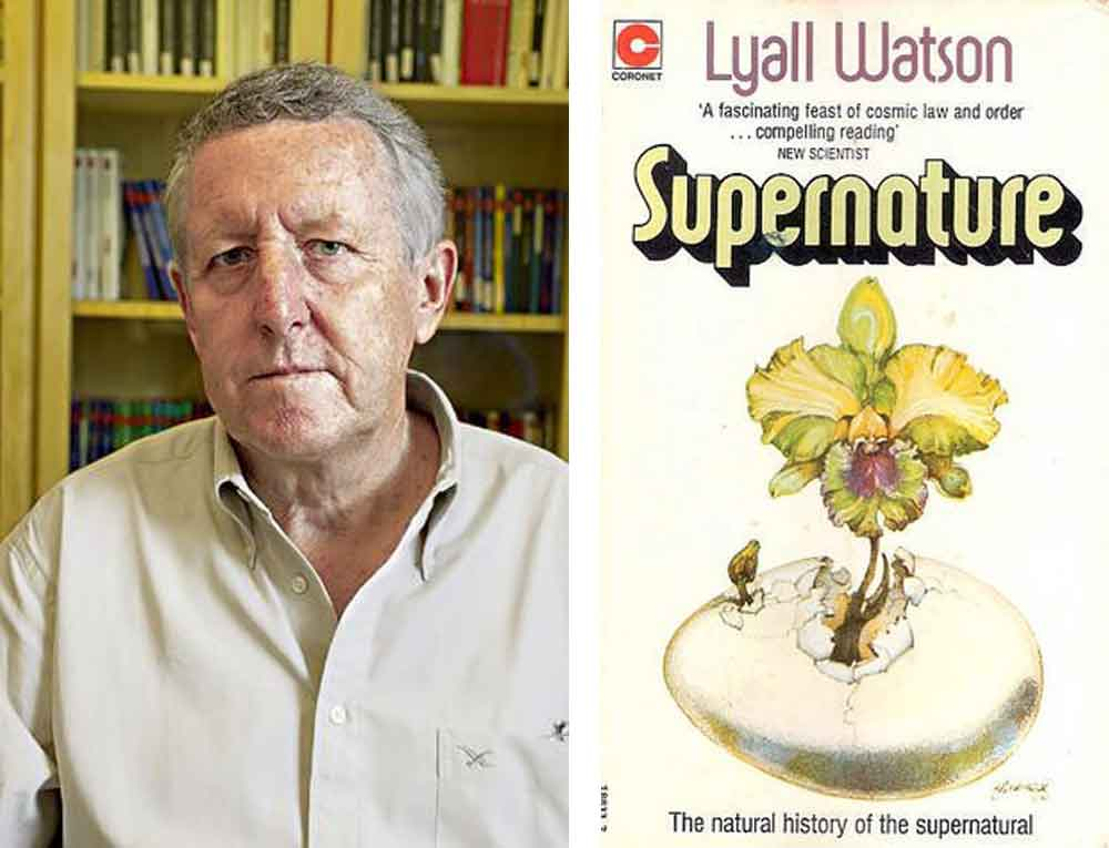 At left: Dr Lyall Watson. At right: 1973's    Supernature   , Watson's most famous book. Images: list of quotations of Lyall Watson ( here ), goodreads.com ( here ).