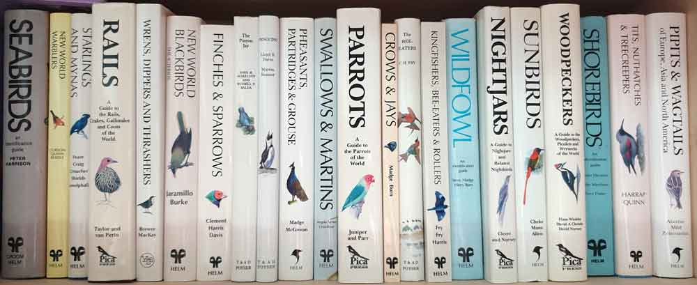 The Helm/Pica Press bird books (oops, plus a few others) in the Tet Zoo Towers library. Image: Darren Naish.
