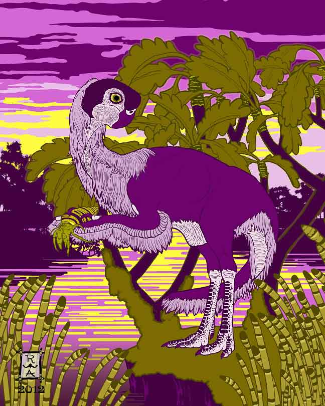 Witton (2018)   includes artwork by several artists, sometimes included to depict diverse styles, compositions and approaches. This is 'Nemegt Sunrise' by the amazing Raven Amos ( website here ), and depicts the oviraptorosaur  Conchoraptor  with a hermit crab. Image: (c) R. Amos.