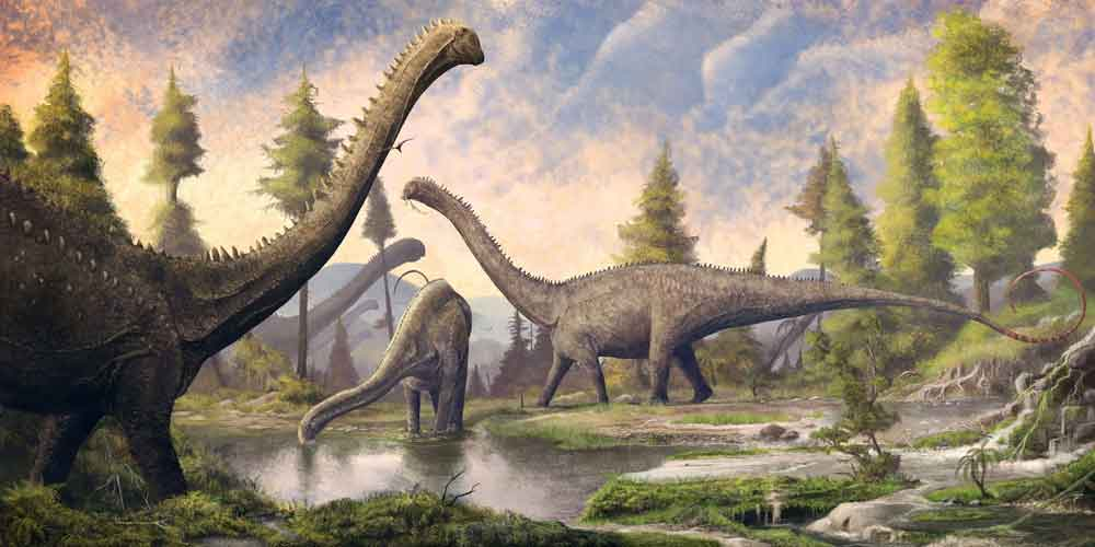 Today, Mark Witton is well known for generating large-scale artworks like this one - depicting the sauropod  Diplodocus , and produced to accompanying the NHM's Dippy specimen as it tours the UK - in addition to work done to accompany press releases. Image: (c) Mark Witton.