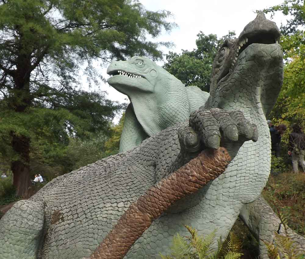 The Crystal Palace animals remain among the most accurate renditions of prehistoric life ever made (like all palaeoartistic reconstructions, they have to be seen as being  of their time ), and Mark Witton's take on them is one I absolutely agree with. This photo of the  Iguanodon  pair was taken in September 2018. Image: Darren Naish.