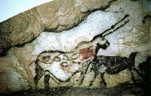 The famous Lascaux 'unicorn' or 'licorne'. Pretty weird that an animal with two horns ever became a 'unicorn', but whatevs. Credit: New Cryptozoology Tarmola Wiki (original  here ).