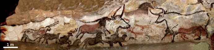 The 'unicorn' (at far left) in the Hall of the Bulls, Lascaux Cave. Image: N. Aujoulat © MCC-CNP, from Martin-Sanchez  et al . (2015).