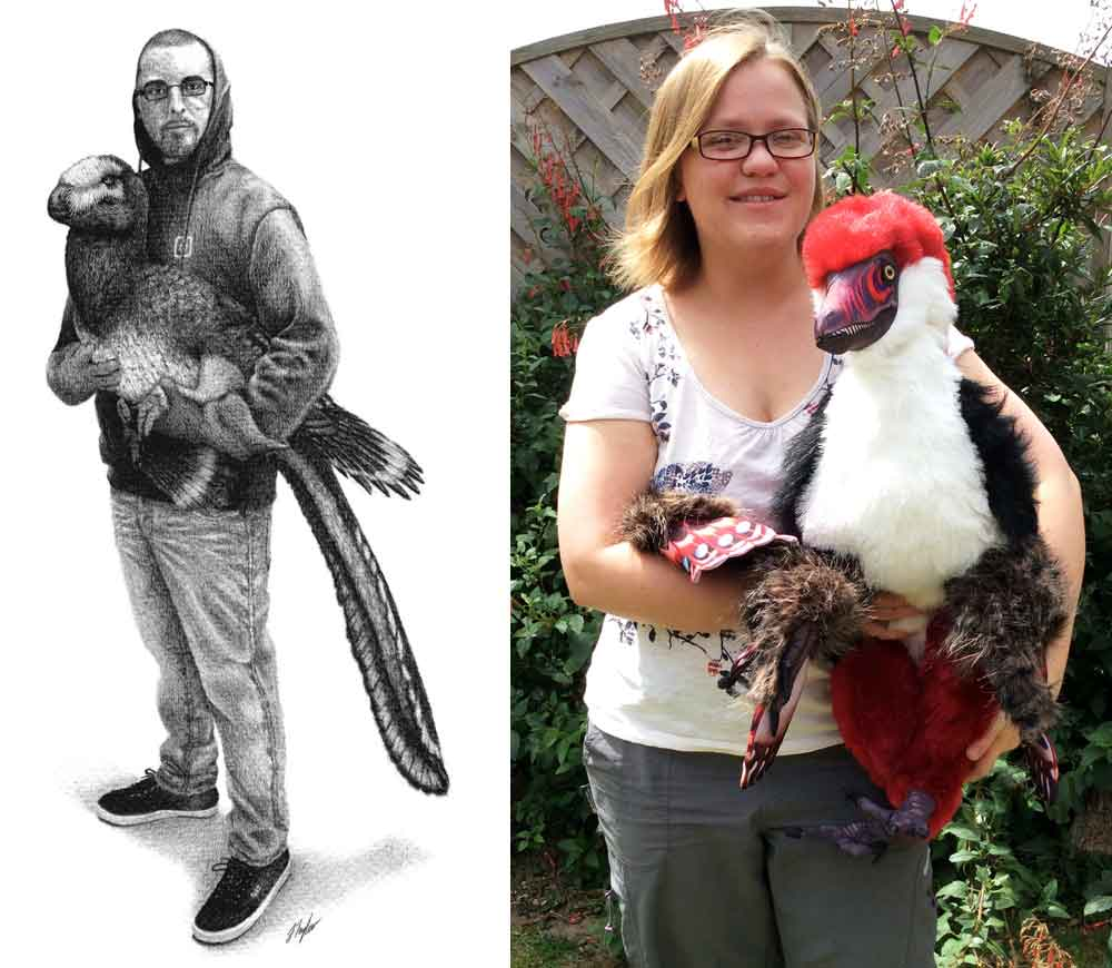 Just two of our several palaeoart presenters for TetZooCon 2019, both - coincidentally - holding dromaeosaurids. Jed Taylor (of   JCTArtStudio  ) at left; Rebecca Groom (of   palaeoplushies  ) at right. Images: (c) JCTaylor, Rebecca Groom, used with permission.