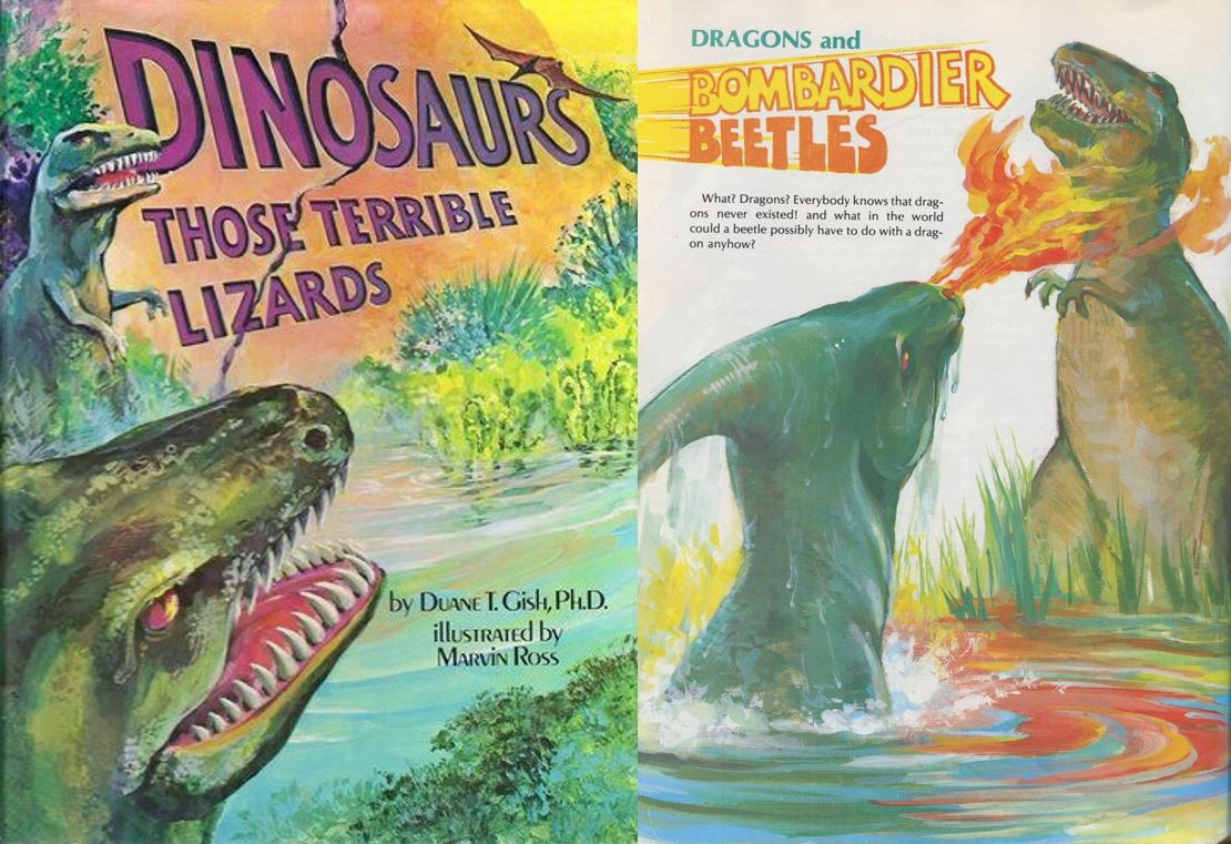 Why have creationists been so big on the 'dragons were fire-breathing dinosaurs' thing? I think it's partly an effort to attract children to their cult. It isn't coincidental that most illustrations of fire-breathing dinosaurs appear in books written for children, like this one by Duane Gish.