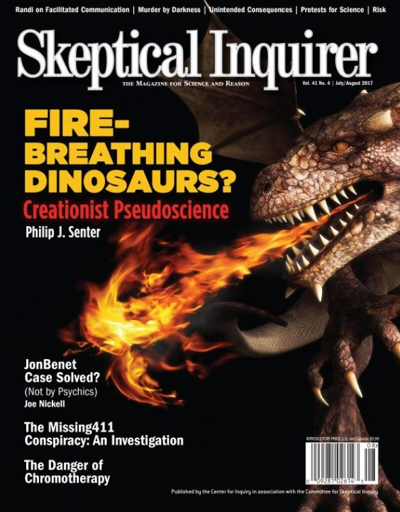The book reviewed here is not the first time Senter has written about the 'fire-breathing dinosaurs' idea. Image: (c) Skeptical Inquirer.