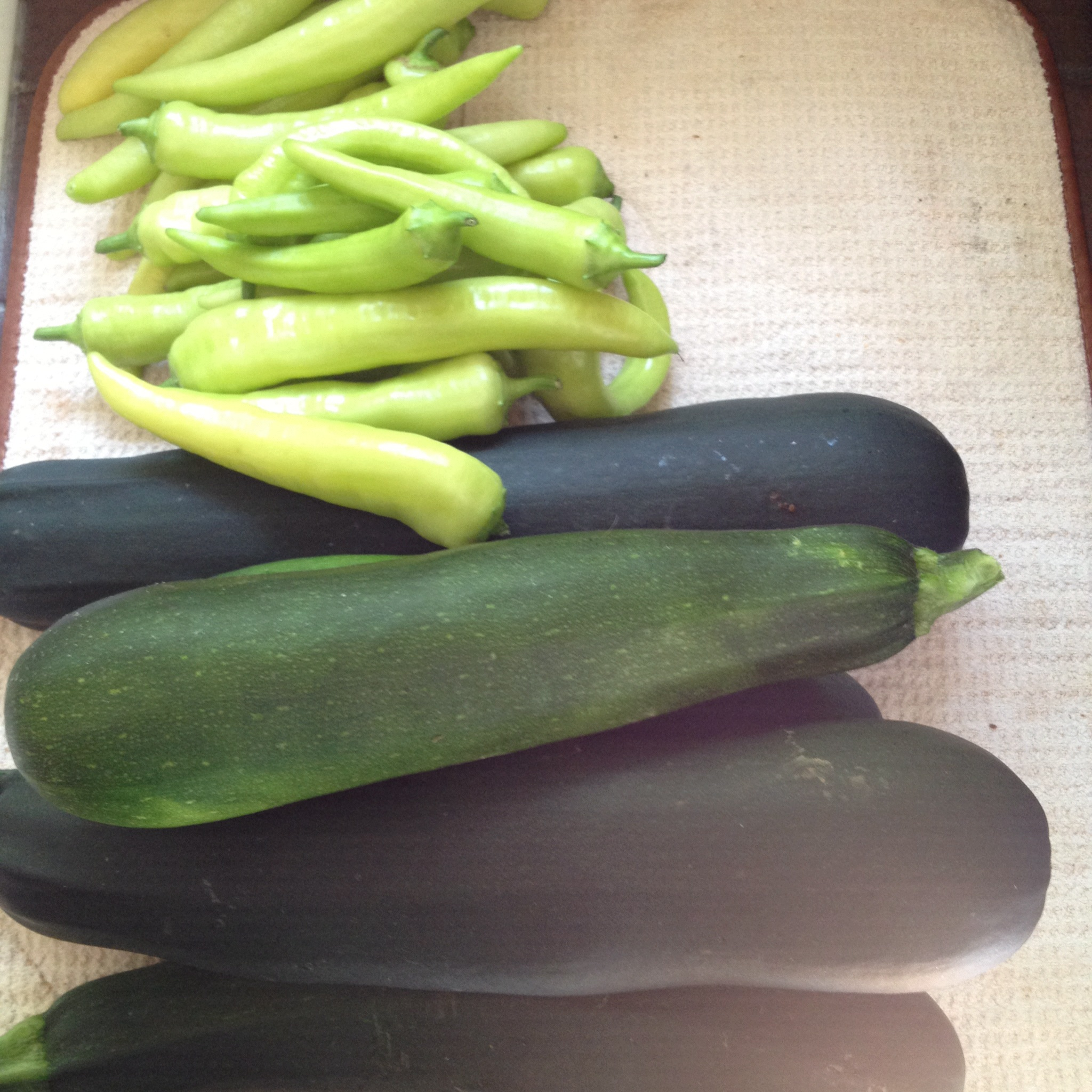 Peppers and zucchini.