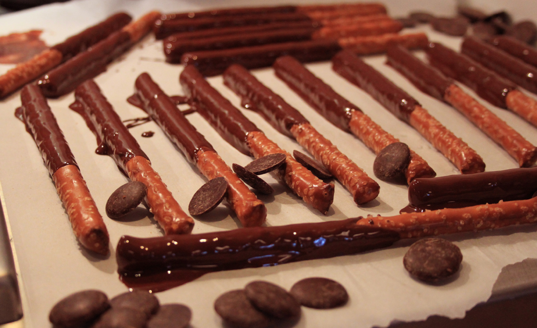 Katie made Chocolate Covered Pretzels for the Caramel Fondue.