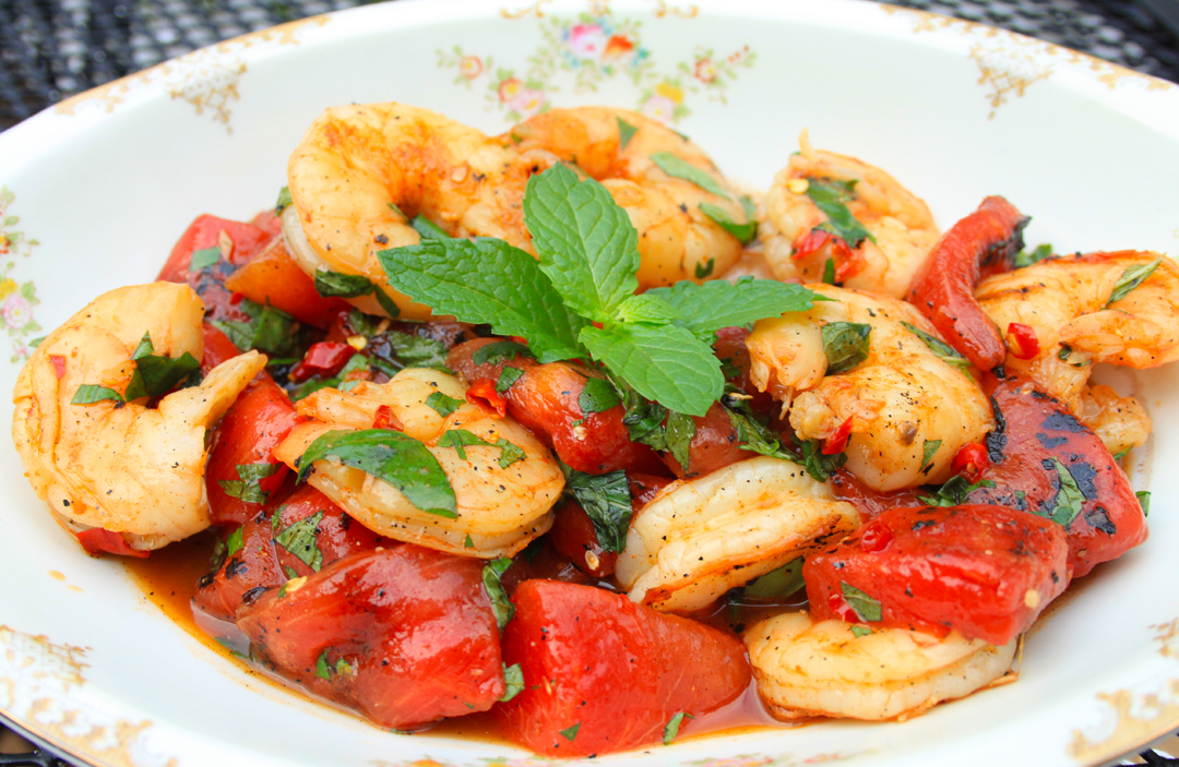 Grilled Watermelon and Shrimp Salad