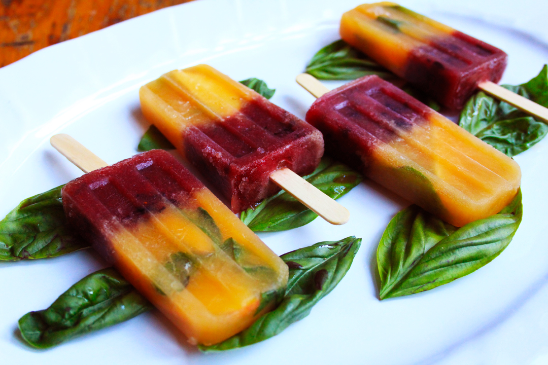 Peach Basil and Blueberry Chambord Adult Popsicles