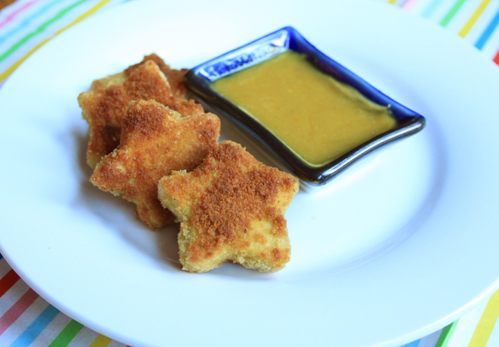 Crispy Tofu Stars for Kids with Honey Mustard Dipping Sauce