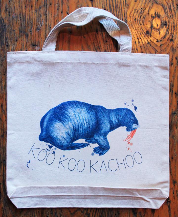 Koo Koo Kachoo Canvas Tote Bag with Walrus