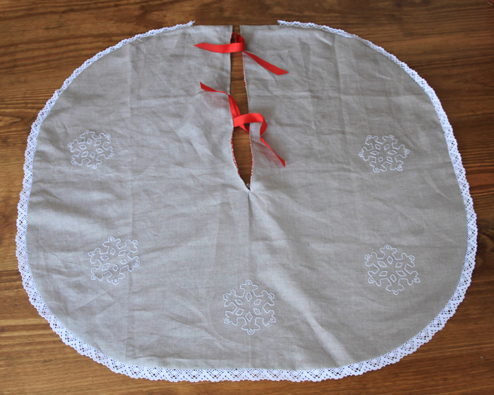 Linen Tree Skirt with Embroidered Snowflakes