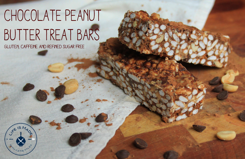 Chocolate Peanut Butter Treat Bars // Gluten Free, Refined Sugar Free, Caffeine Free