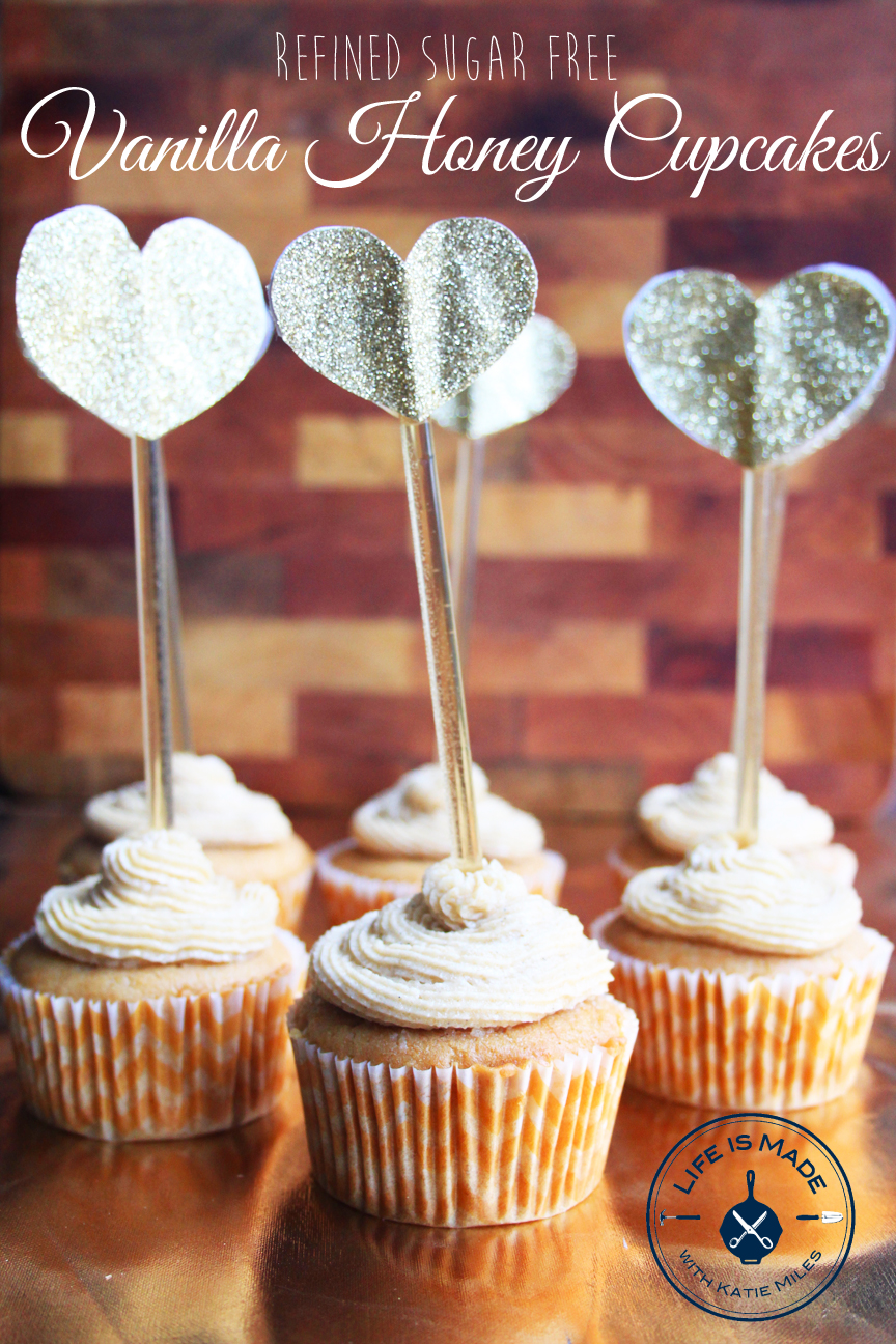 Honey Vanilla Cupcakes // Refined Sugar Free // Life is Made with Katie Miles