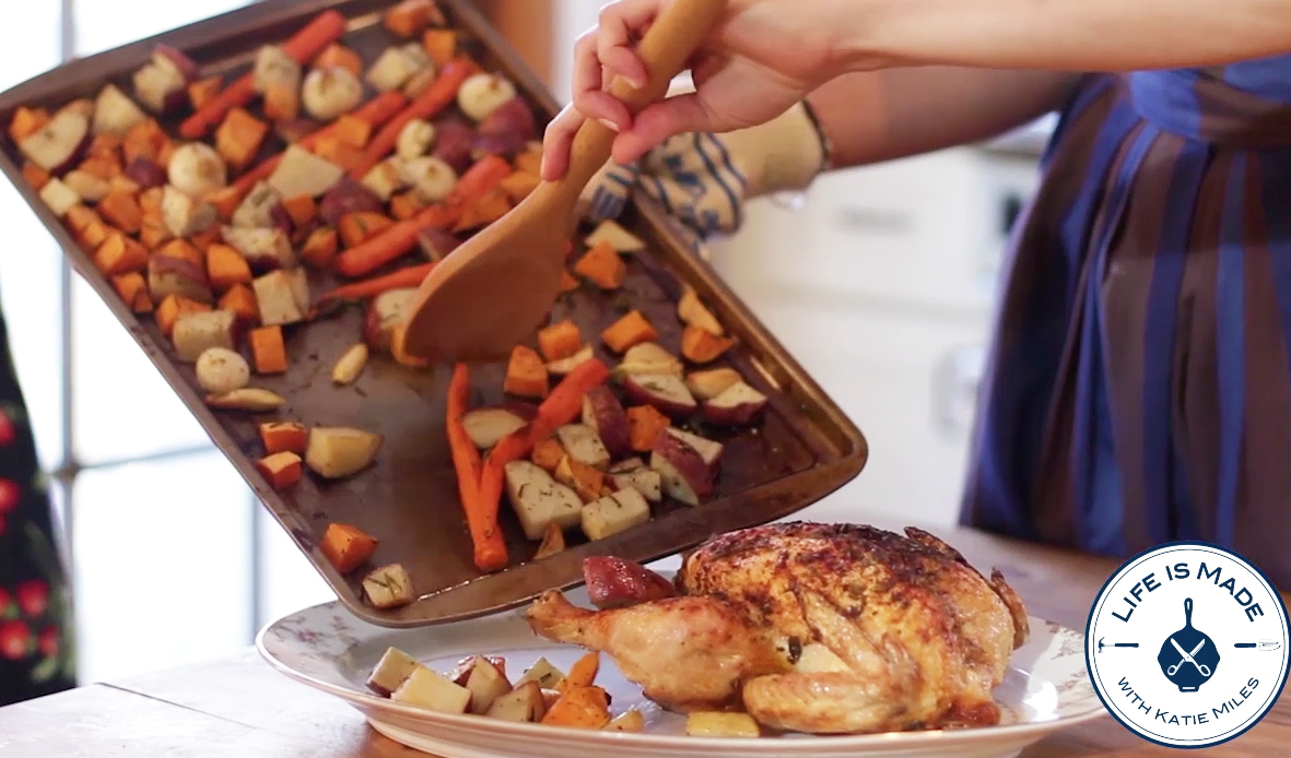 How to Make a Cast Iron Roasted Chicken and Roasted Vegetables // With Video // Life is Made with Katie Miles // www.lifeismadeblog.com