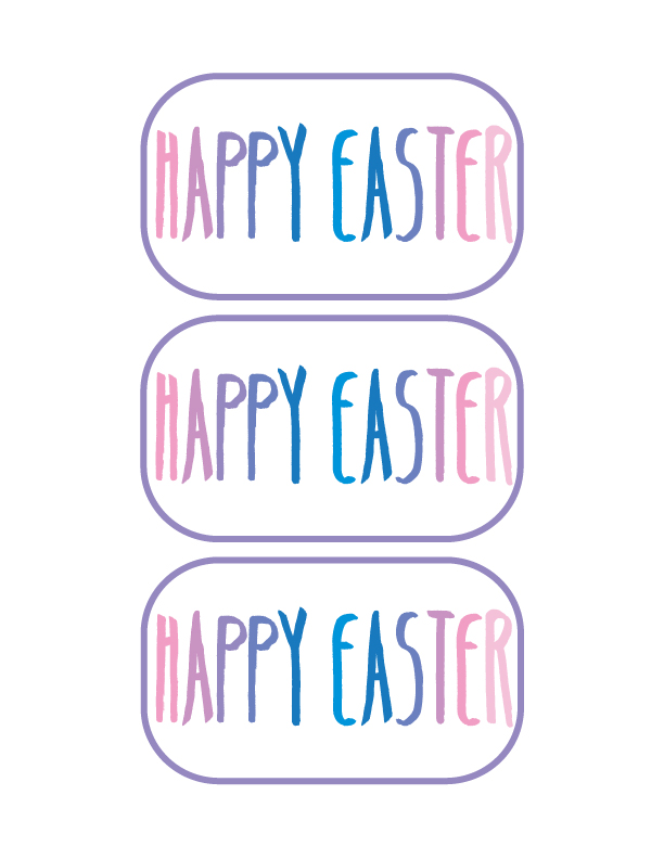 """Printable """"Happy Easter"""" Sticker. Use the link above to download for printing on the Avery Sticker Project Paper."""