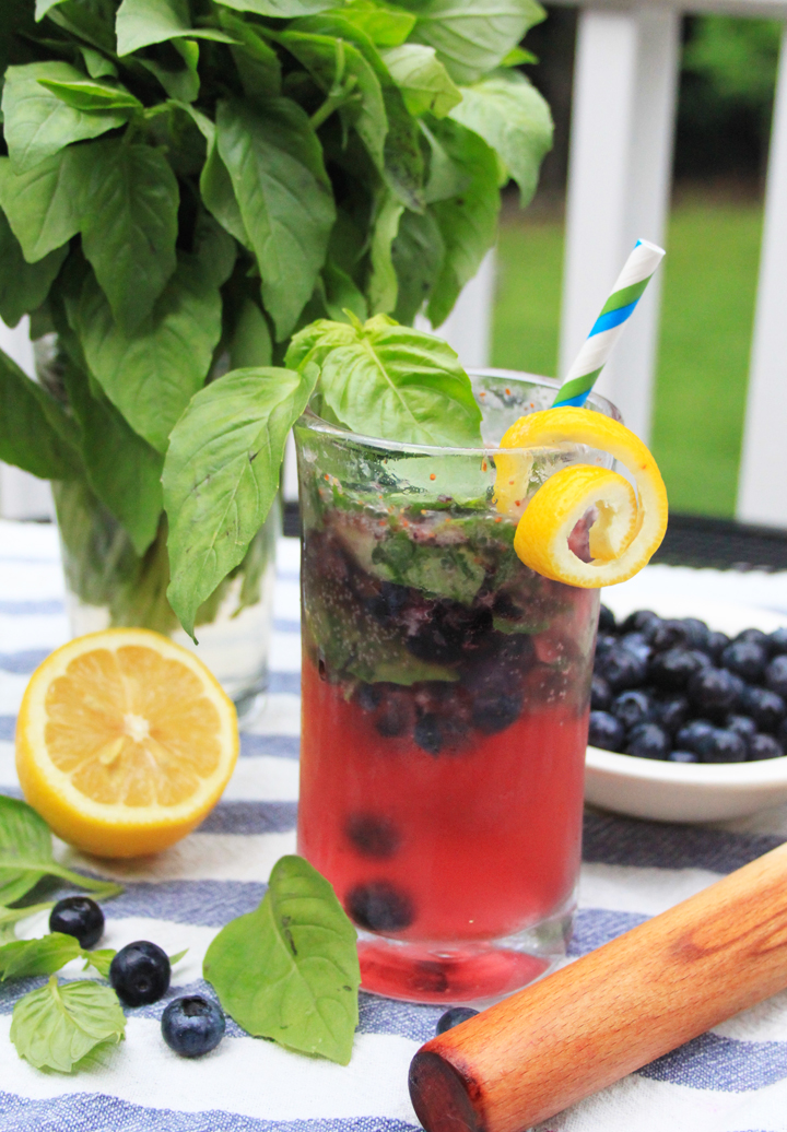 Blueberry Basil Smash Cocktail // Life is Made with Katie Miles // www.lifeismade.com