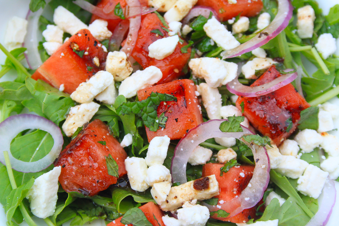 Grilled Watermelon Salad with Feta, Arugula and Mint // Life is Made with Katie Miles // www.lifeismade.com
