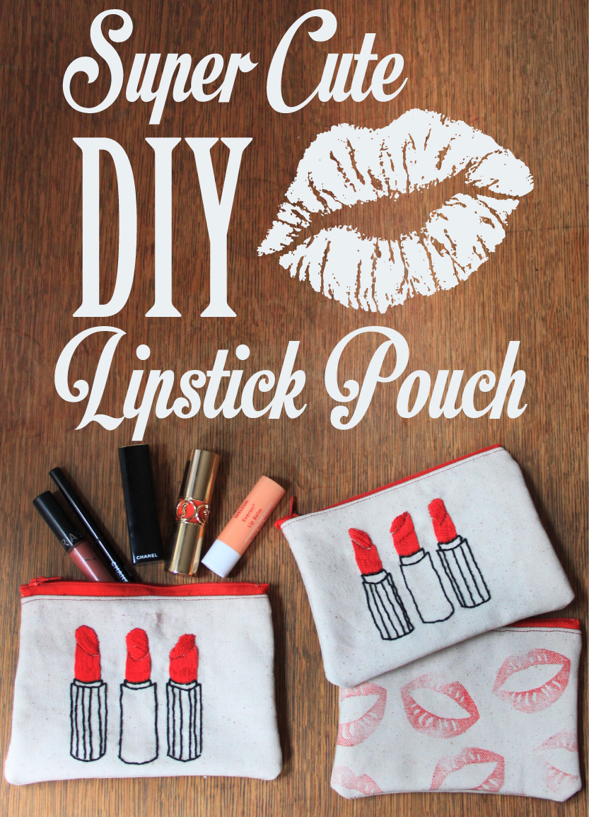 How to Make an Embroidered Lipstick Pouch // Life is Made with Katie Miles // www.lifeismade.com