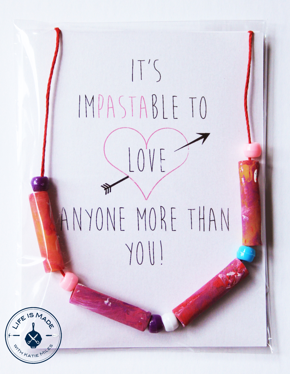 How to Make Pasta Necklace Valentines - A Fun Craft to do with Toddlers and Kids // Life is Made with Katie Miles // www.lifeismade.com