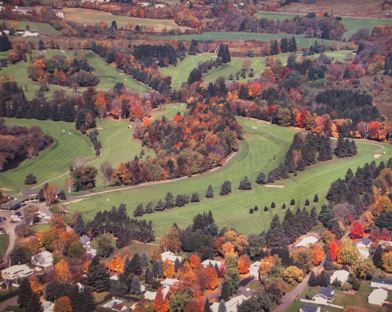Aerial view of the Oneonta Country Club golf course. Autumn.