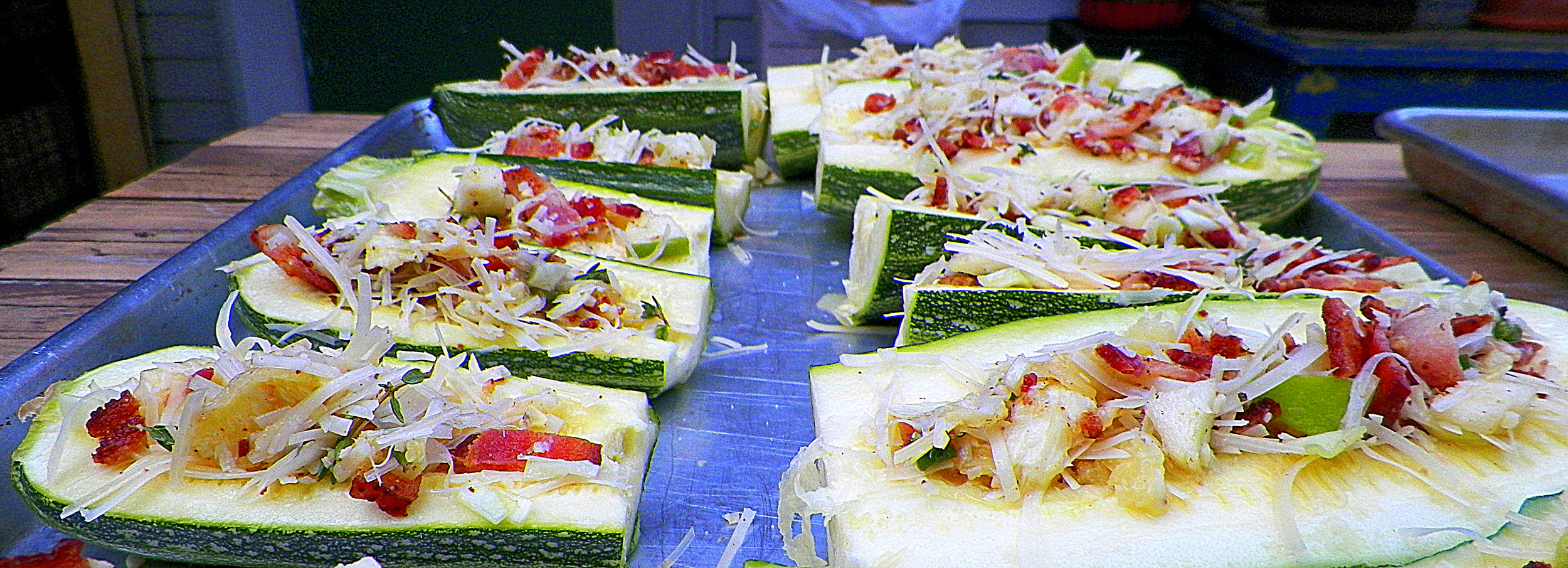 """Stuffed"" zucchini ready to hit the grill."