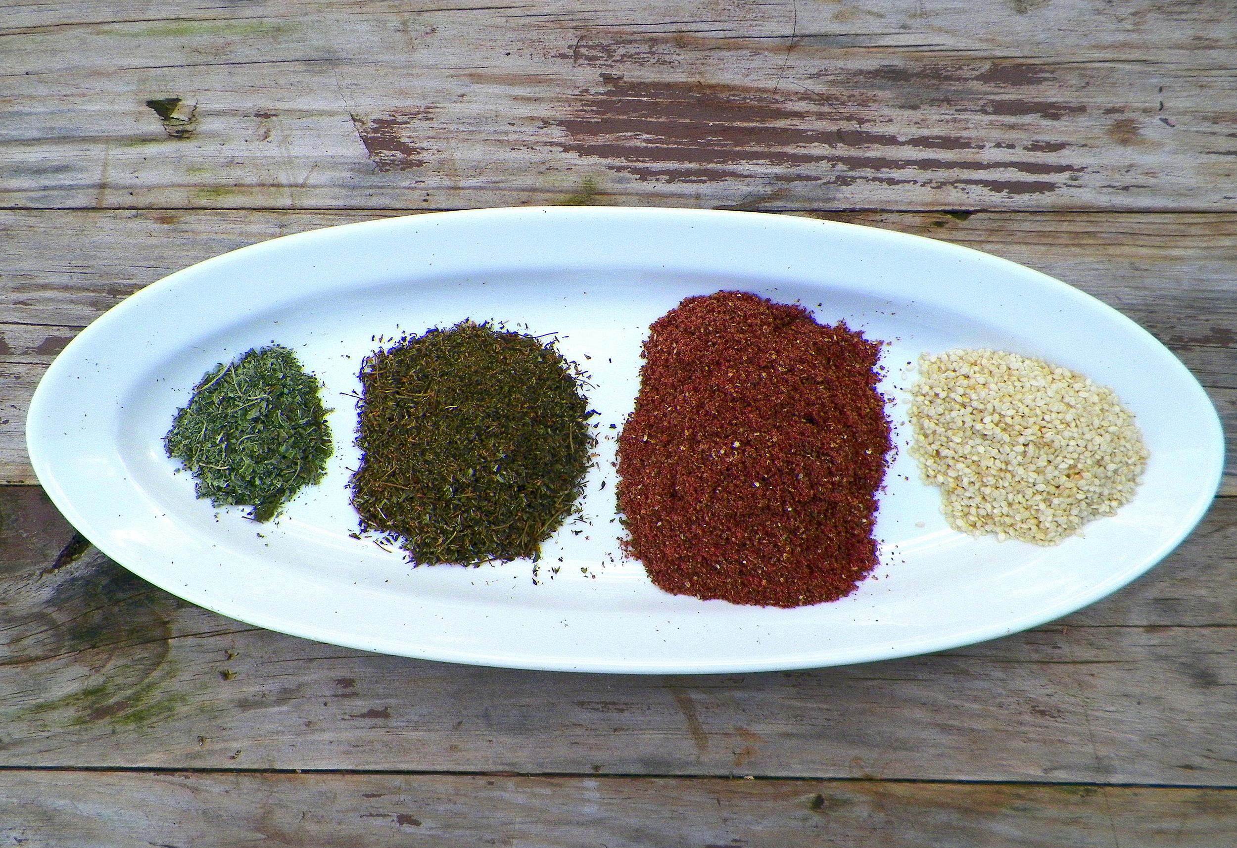 Oregano, thyme, sumac, sesame seeds.