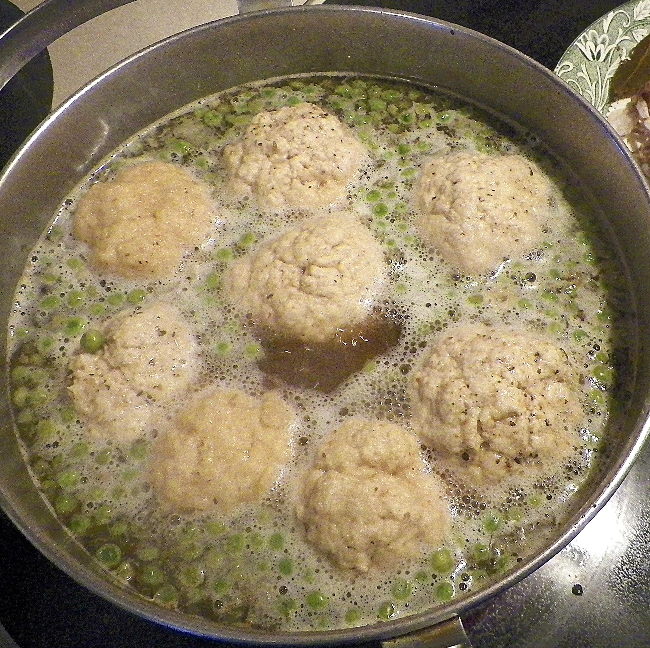 Dumplings simmering.